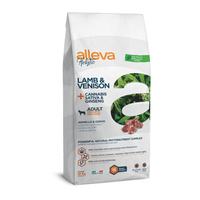 Alleva Holistic Adult Medium & Maxi Lamb & Venison + Cannabis Sativa & Ginseng 12 kg