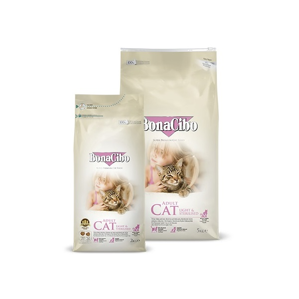 BonaCibo Adult Cat Light & Sterilised Chicken 2 kg