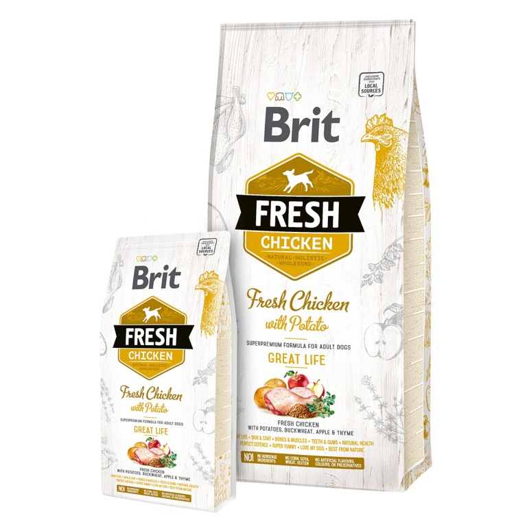 Brit Fresh Chicken with Potato Adult Great Life - csirke és burgonya 2,5 kg