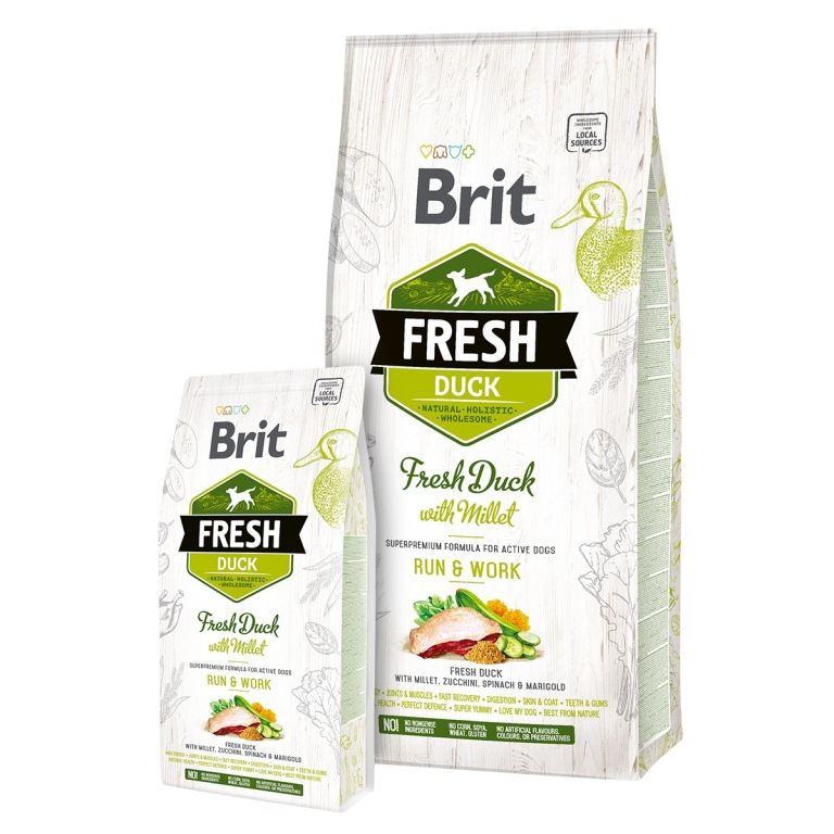 Brit Fresh Duck with Millet Adult Run & Work - kacsa és köles 12 kg